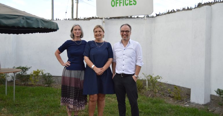 From L - R Karin Verland (Director General, DIGNITY), Louise Holck (DIGNITY Board Member), Peter Kragelund (DIGNITY Board Chair) At Midrift Hurinet Offices During Their DIGNITY Board Mission In Nakuru, Kenya.