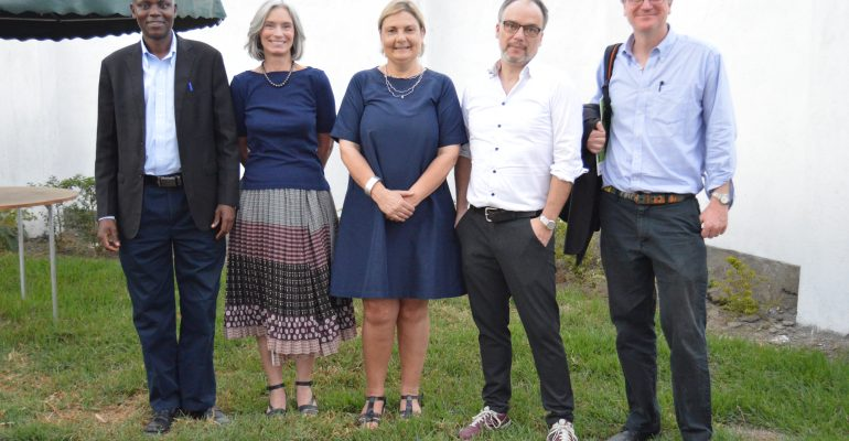 From L - R Joseph Omondi (ED, Midrift Hurinet), Karin Verland (Director General, DIGNITY), Louise Holck (DIGNITY Board Member), Peter Kragelund (DIGNITY Board Chair), Finn Kjaerulf (Program Manager IUVP) At Midrift Hurinet Offices During Their DIGNITY Board Mission In Nakuru, Kenya.